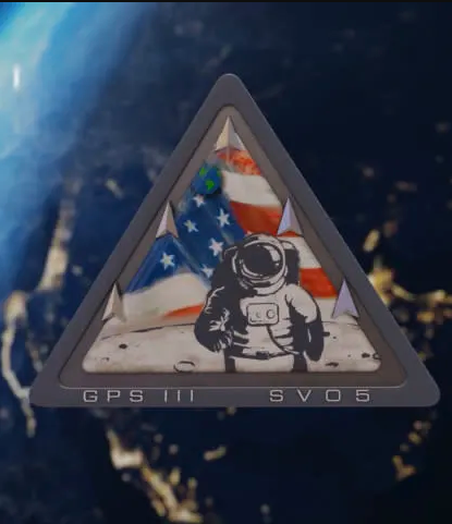 triangle with spaceman and american flag in outer space