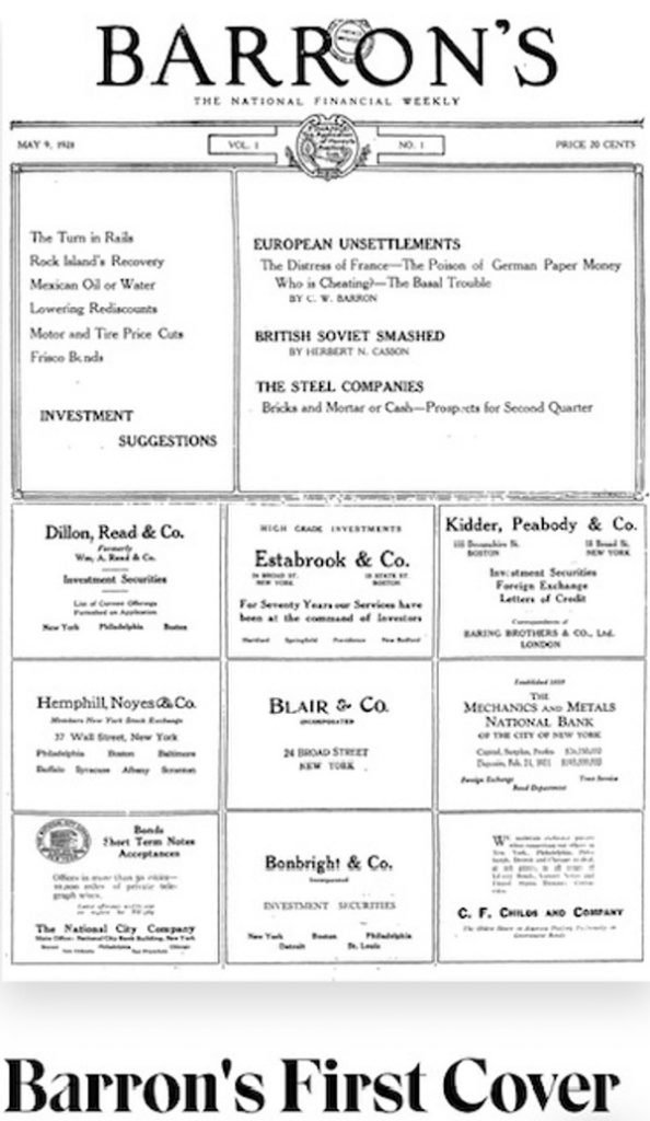 front page of original barron's newspaper