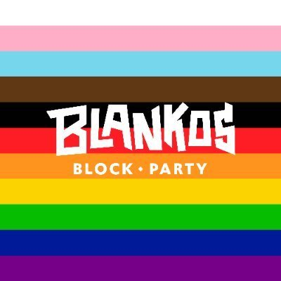 multicolored striped flag with Blankos Block Party