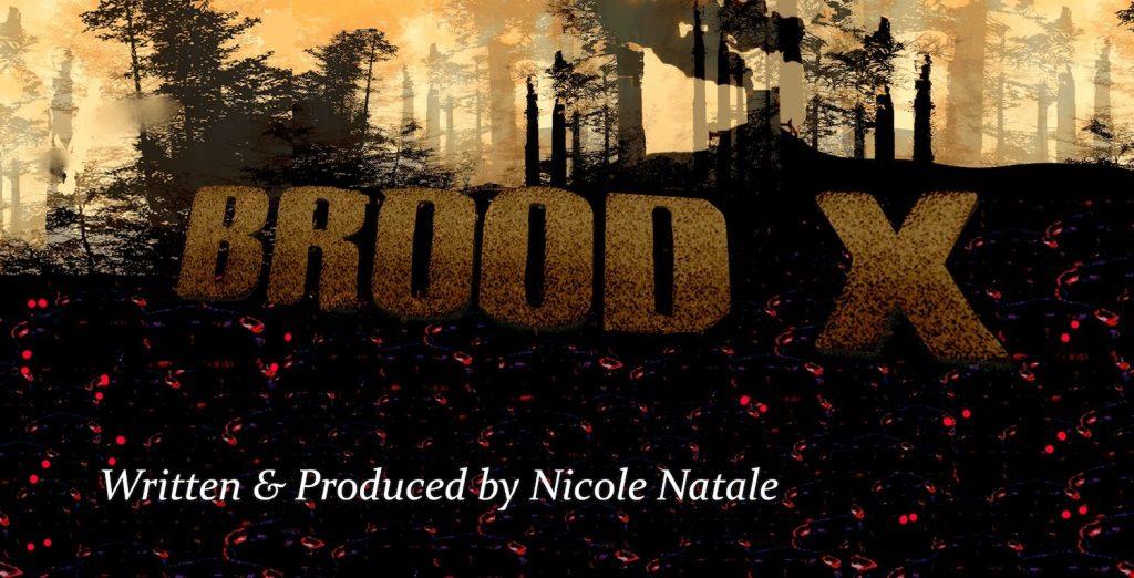 Title Brood X over dark woodscape