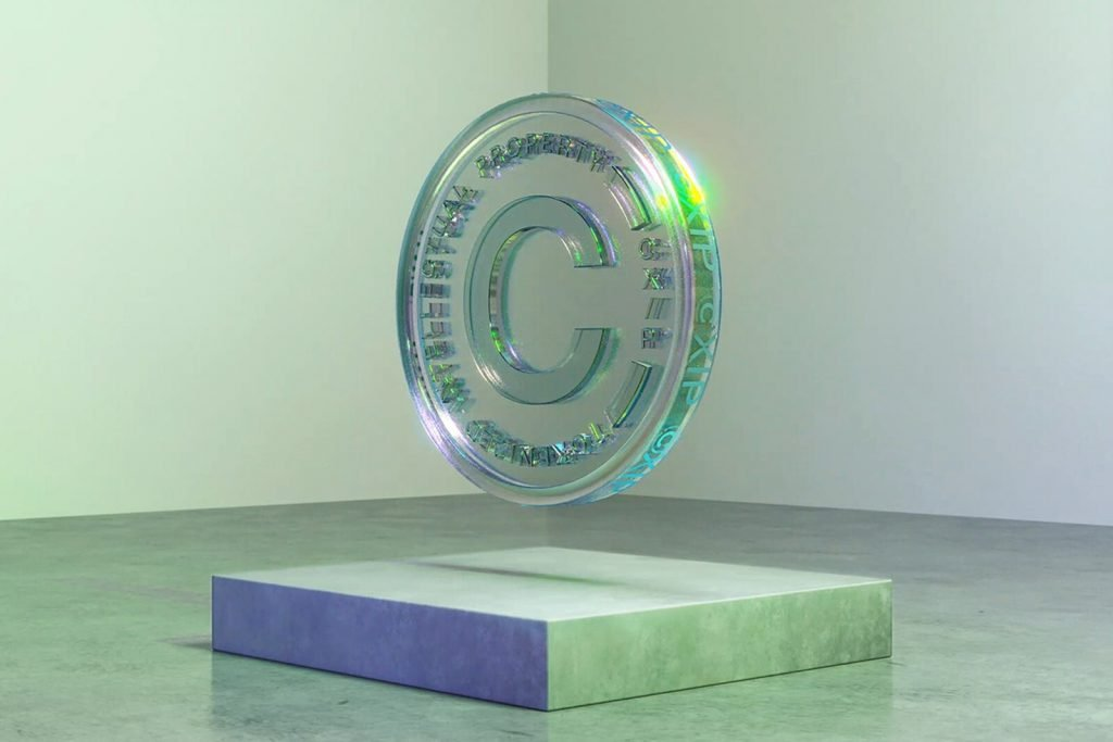 clear green coin with C in middle on display stand