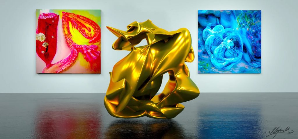 gold sculpture on floor with one red and one blue painting on wall behind