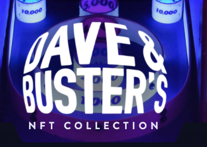 Dave & Buster's on globelike shape with purple background