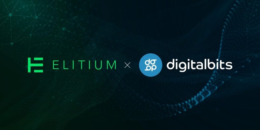 black background with elitium and digital bits logos and brands