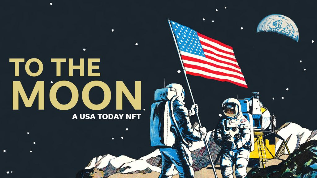 space explorers on moon with u.s. flag