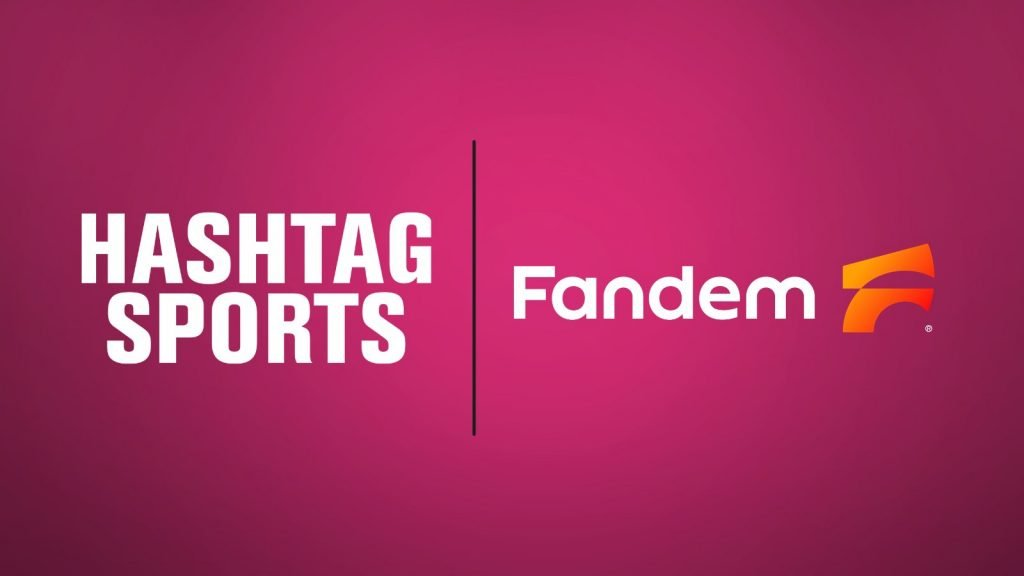 banner with words Hashtag sports and Fandem