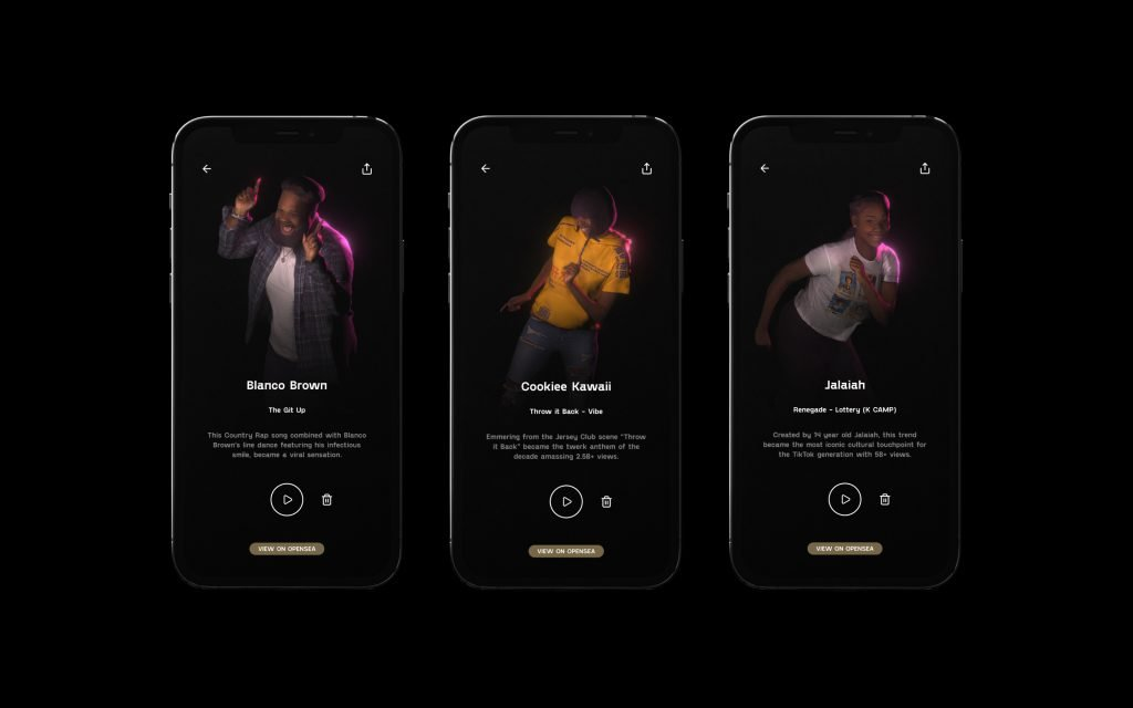 Three cell phone screens with a dancer in each