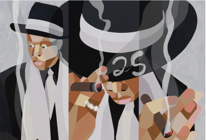 abstract jay-z with brimmed hat