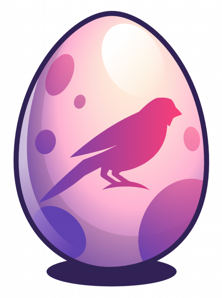 brightly colored egg with bird image on egg