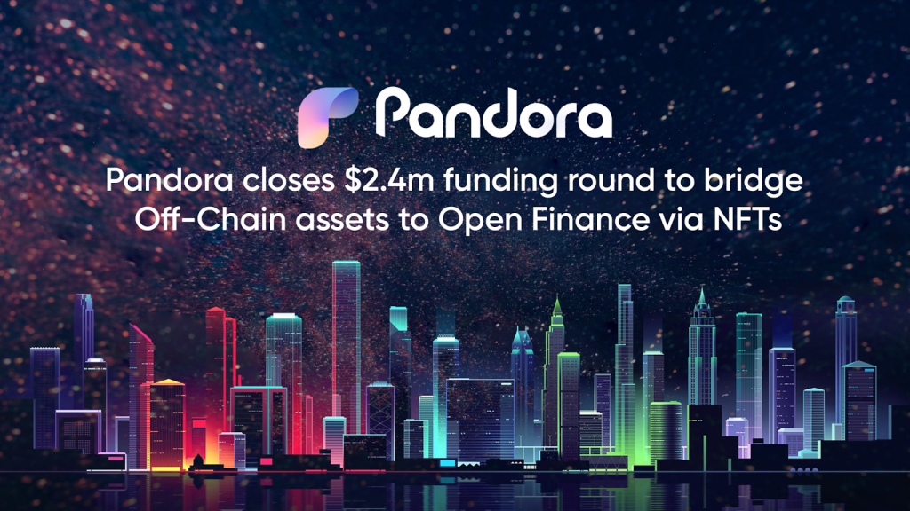 Pandora Funding Announcement with Red and Green Lights on Black Background