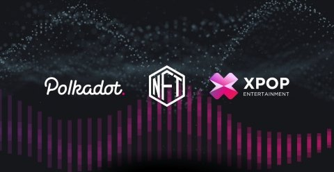Banner with Polkadot and KPOP on dark background
