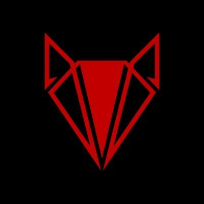 abstract fox head in red on black background