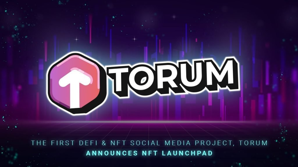 Purple background, red up arrow, the word TORUM
