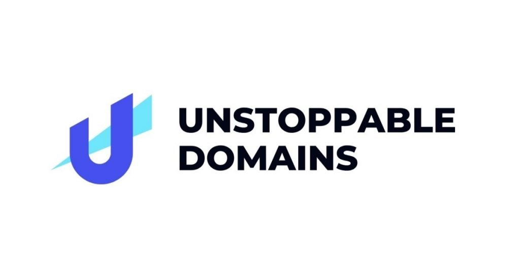 Name Unstoppable Domains beside U with pointy triangle sticking through it