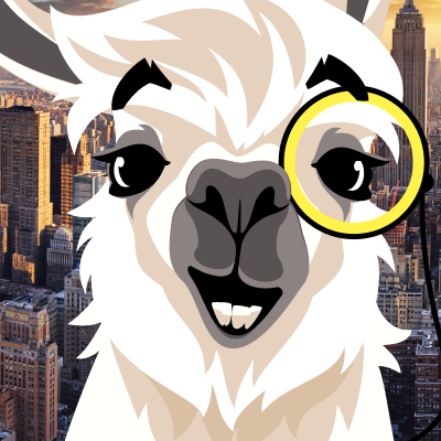face of llama with monocle
