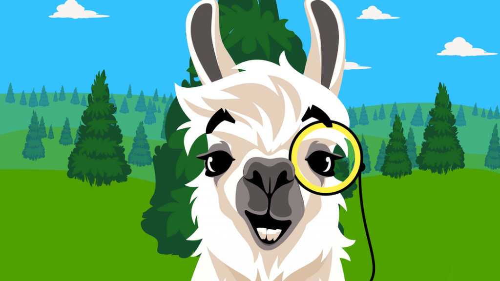 llama with monocle backed by forest
