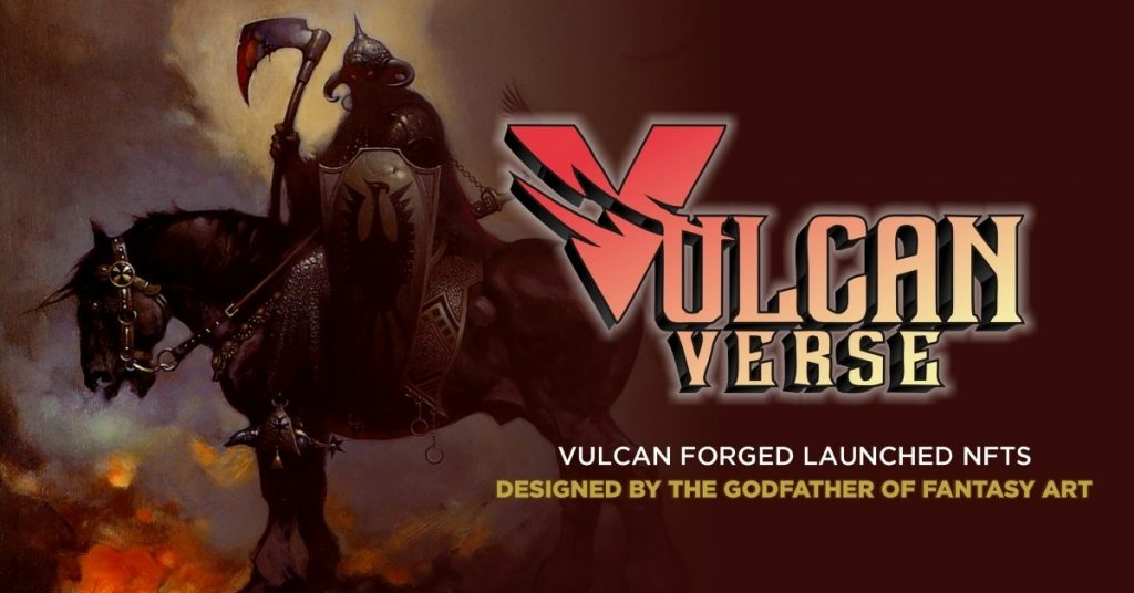 Dark figure on horse with large axe next o words Vulcan Verse