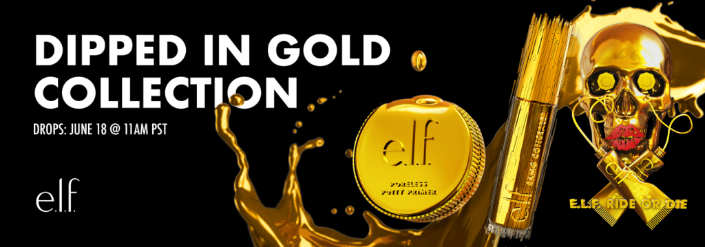 gold-plated elf cosmetics packaging