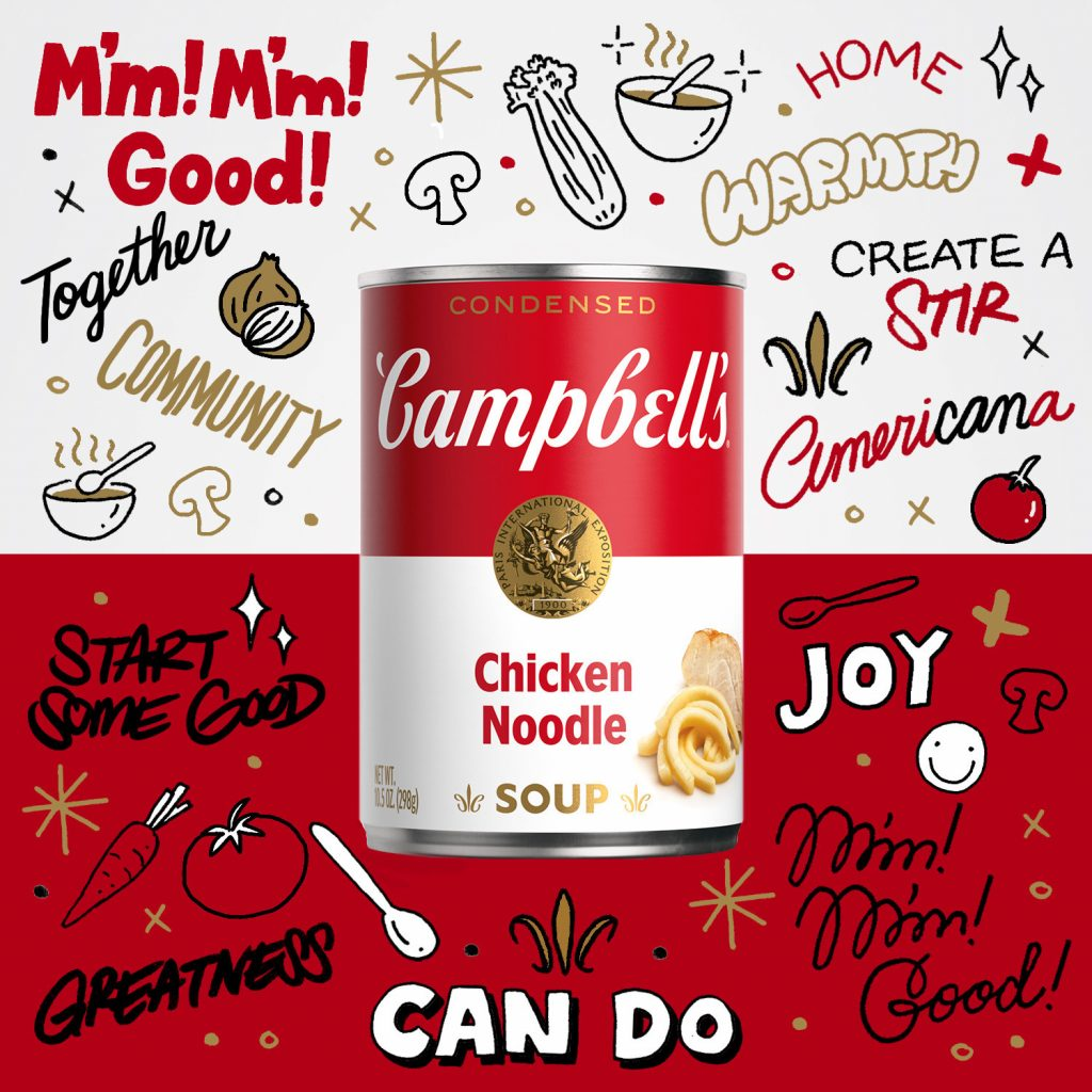 picture of campbell's soup with graffiti on wall behind
