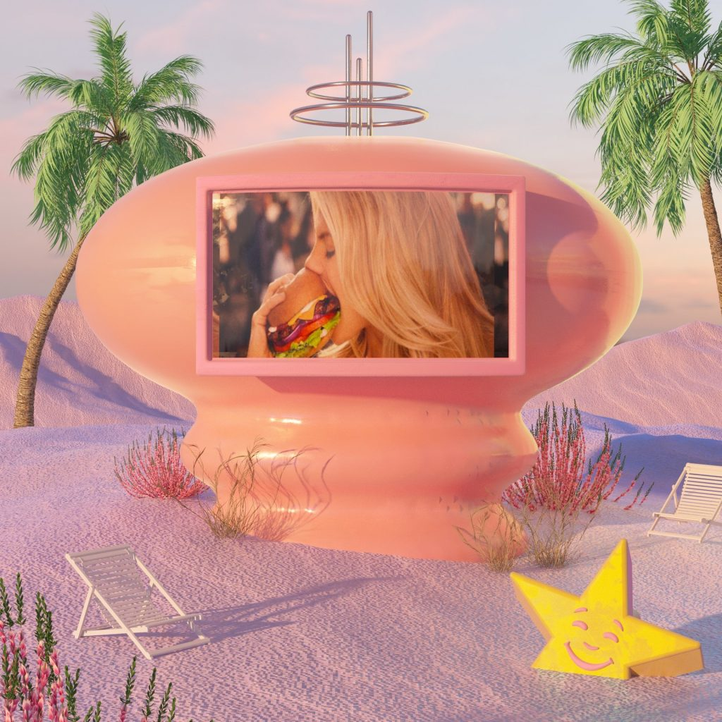 woman eating large hamburger in futuristic setting