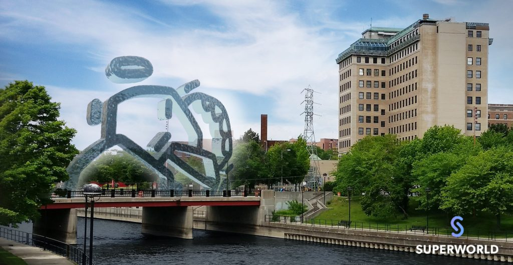 everyday environment with fanciful ar-embedded sculpture