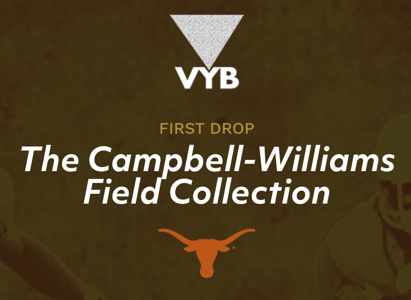 title of collection with UT Austin horns below and VYB triangle above
