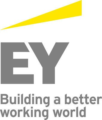 large letters E and Y with stroke of color above and company slogan below