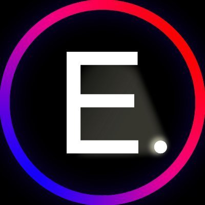 capital E followed by period in colorful circle on black background