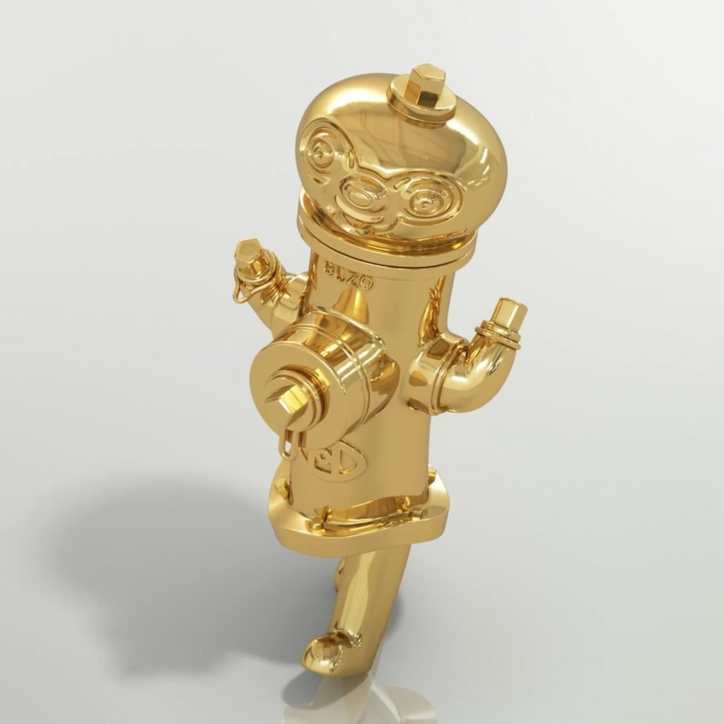 fire hydrant with childlike features plated in gold