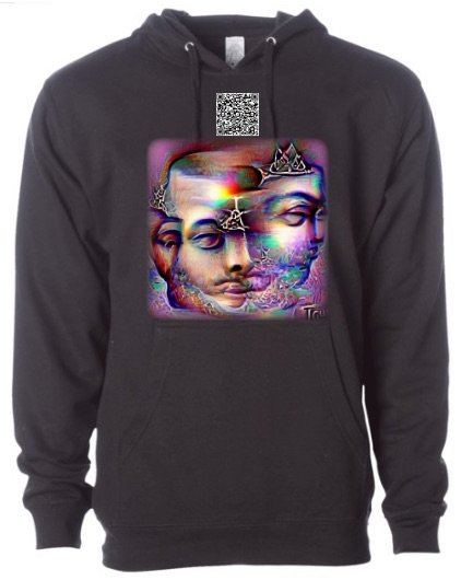 hoodie with qr code and abstract faces on chest