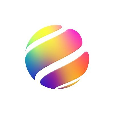 multicolored disc with white stripes