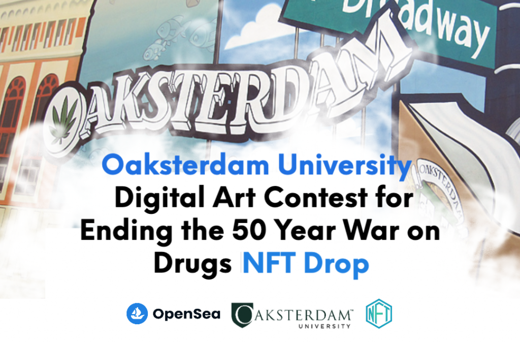 announcement of art contest nft drop with abstract background featuring word OAKSTERDAM