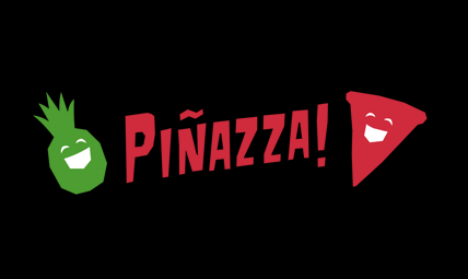 Piñazza logo featuring green pineapple and red pizza slice on either side of Piñazza!
