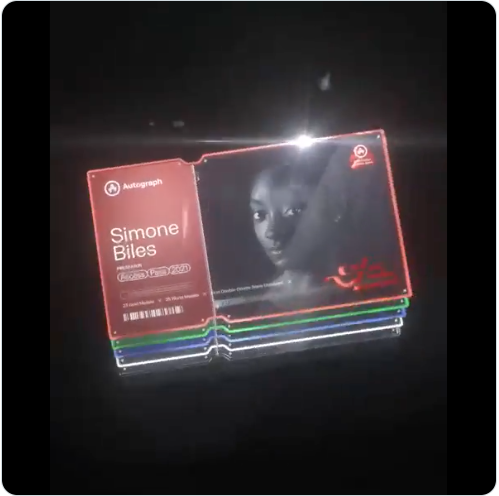 Simone Biles image on NFT card