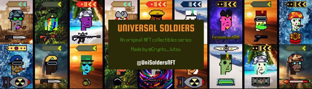 banner with title and pics of universal soldiers