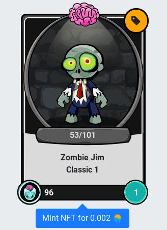 cartoon zombie on digital playing card
