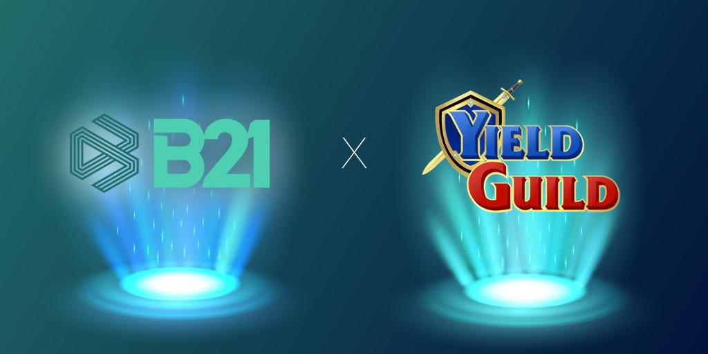 Words B21 and Yield Guild in spotlights side by side