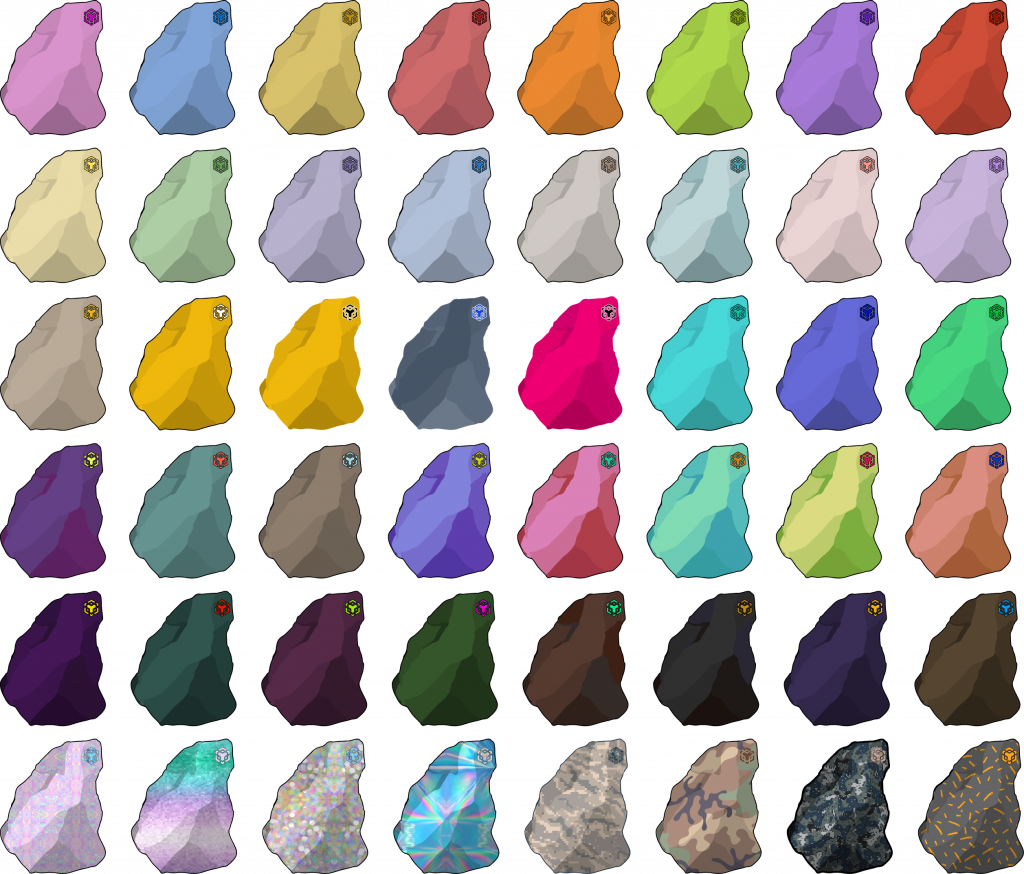 grid of different colored but same shaped rock illustrations
