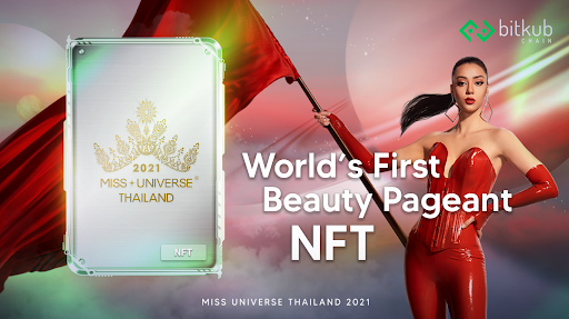 woman in red with red flag and NFT card for Miss Universe Thailand