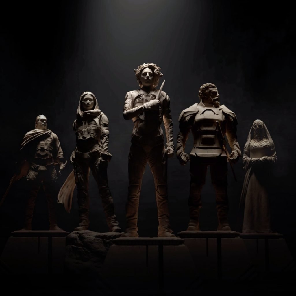 five figurine characters from DUNE in a semicircle in dark setting