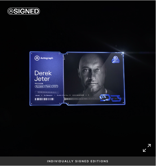 headshot of derek jeter on NFT cardd