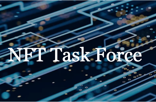 words NFT Task Force superimposed over lit up cyber schematics