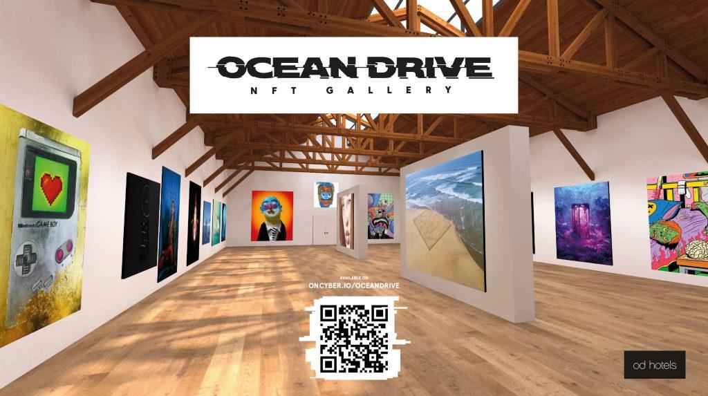 interior of virtual reality NFT art gallery