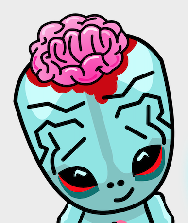 Zoombies character blue head, pink hair