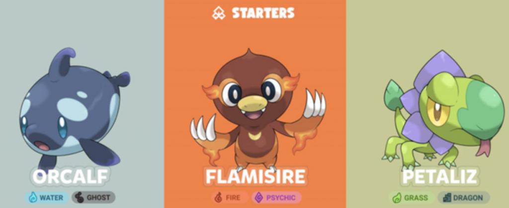 three cute blockmons characters
